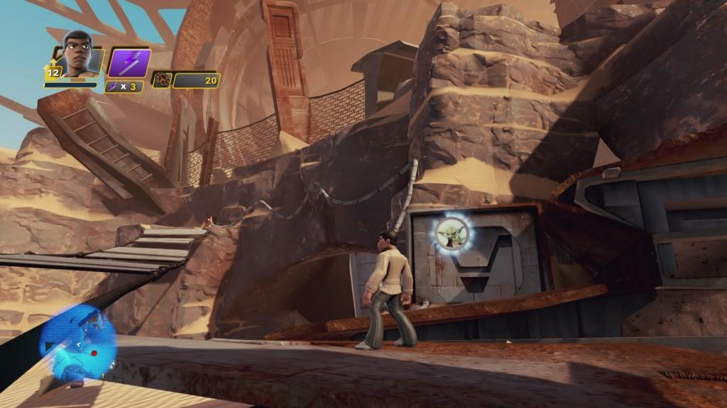 Wenn ihr auf die Triebwerke des großen Zerstörers blickt und euch direkt davor stellt, geht es links davon einige Stufen hinunter, wo ihr auf einer tieferen Ebene YODA findet.