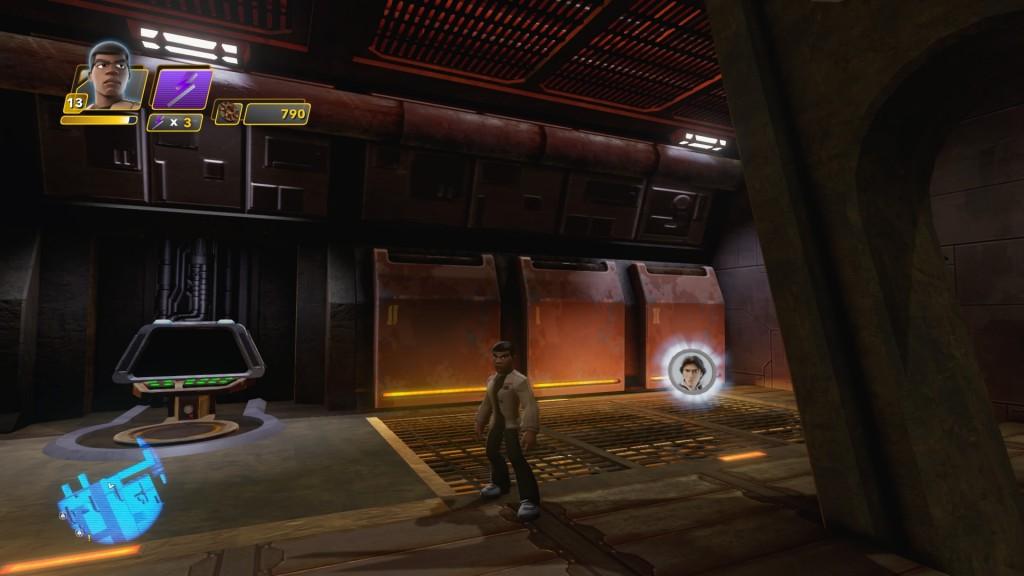 Auf der oberen Ebene des Hangars, ganz hinten links, findet ihr HAN SOLOs Charaktermünze neben einer Computerkonsole.