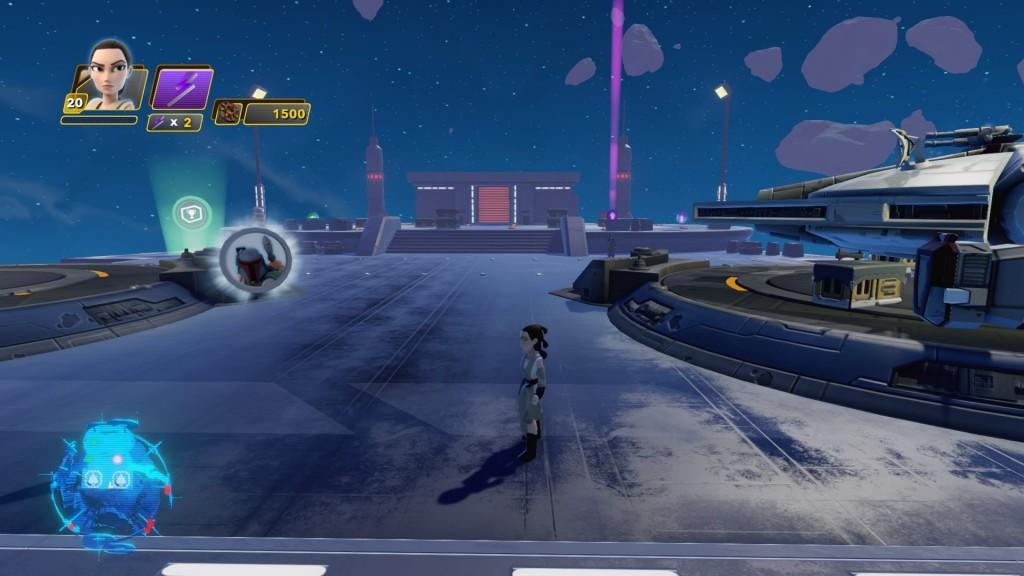 Auch Takodana verfügt über einen kleinen Mond, den ihr besuchen könnt. Die erste Münze findet ihr hier direkt zwischen den beiden Landeplattformen für die Raumschiffe. Sie gehört zu BOBA FETT.