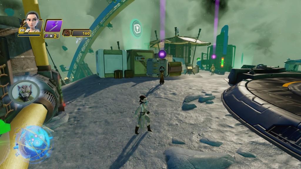 Im Weltraum über Jakku könnt ihr einen kleinen Mond des Planeten anfliegen. Nach der Landung findet ihr gleich links neben den Schiffsplattformen die Münze von ZEB ORRELIUS aus Star Wars Rebels.