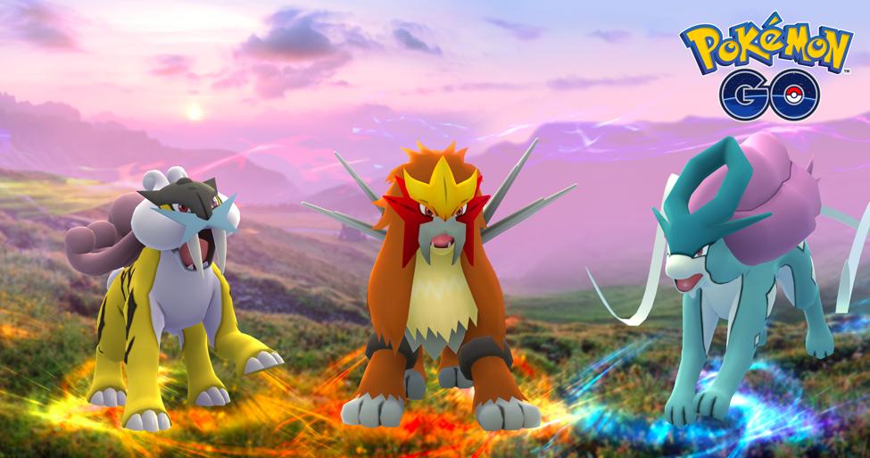 Die Legendären Pokémon Raikou, Entei und Suicune erscheinen in Pokémon GO