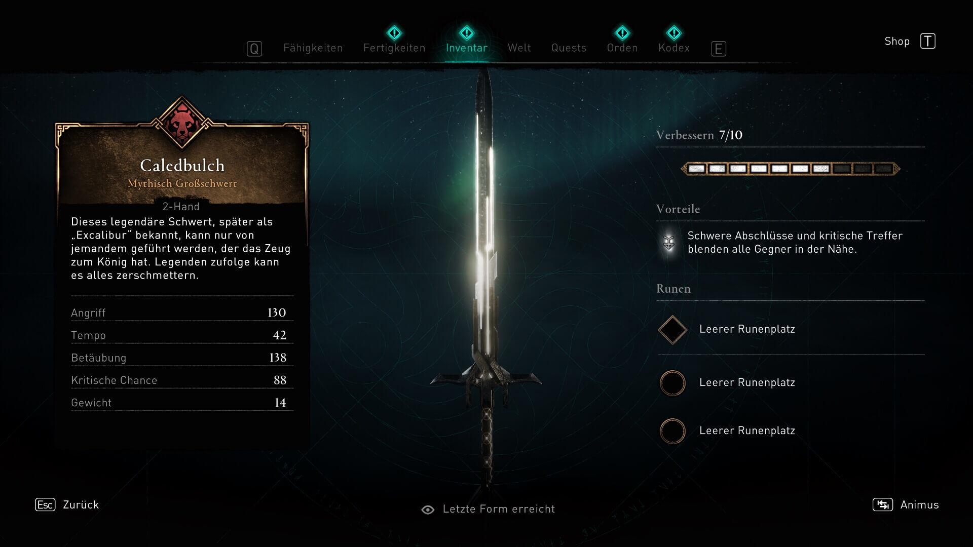 Assassin's Creed Valhalla Werte Excalibur