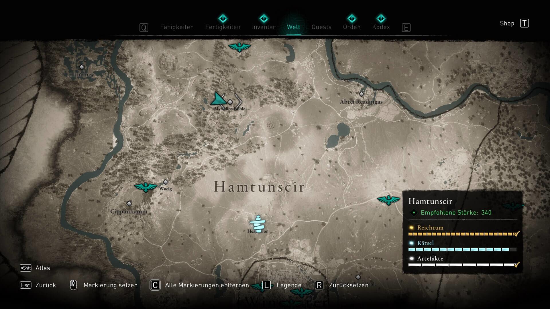 Assassin's Creed Valhalla Fundort Excalibur Karte