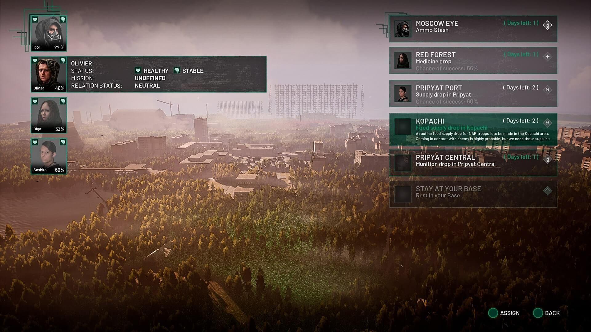 Chernobylite Team und Missionen