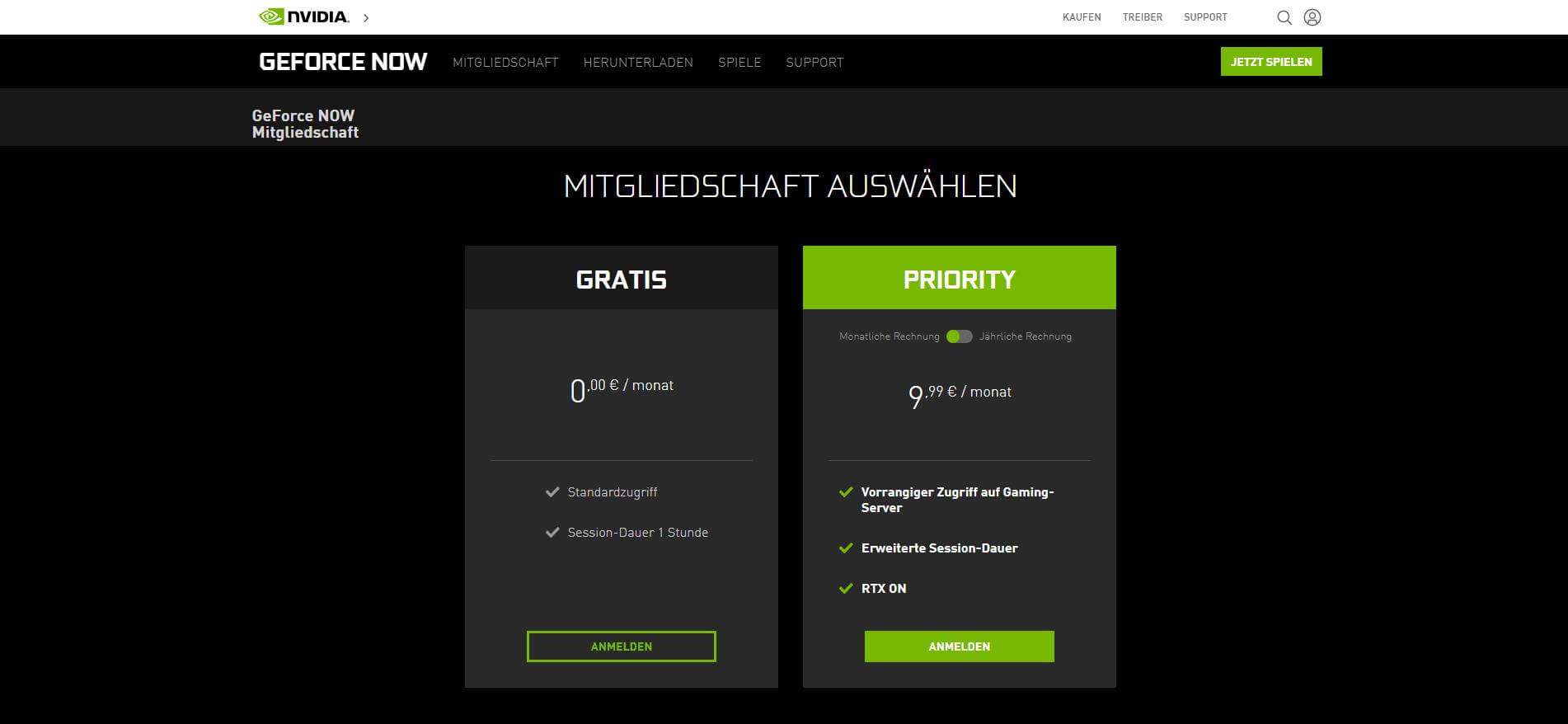 NVIDIA GeForce NowMitgliedschaften