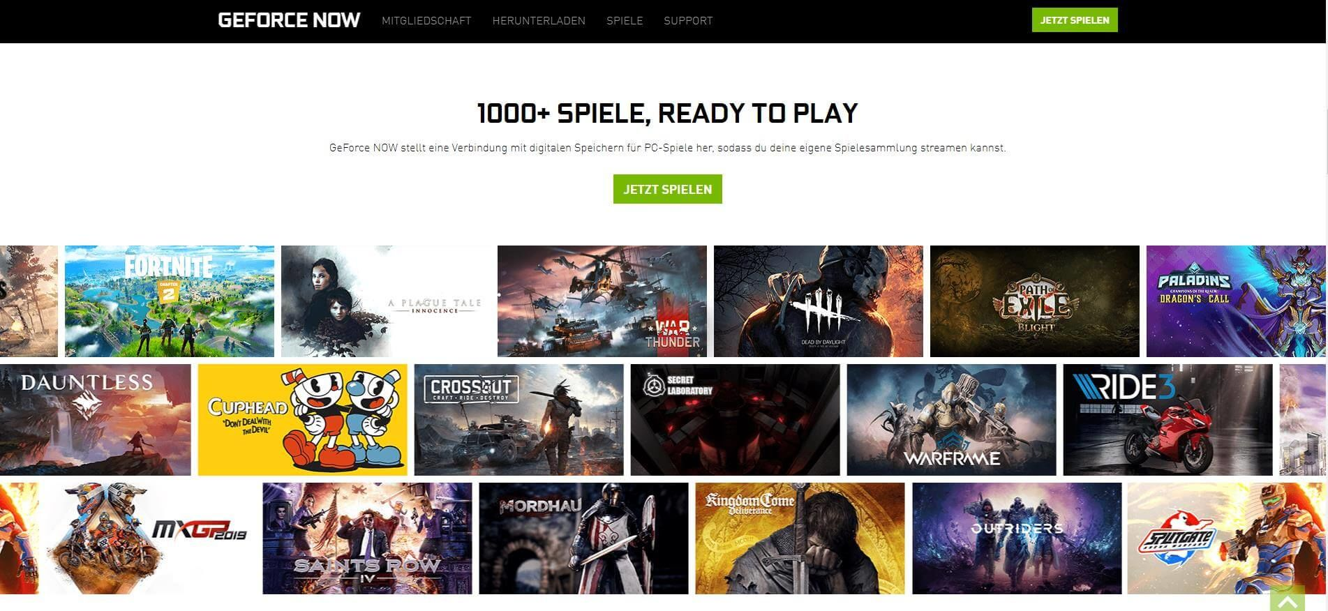 GeForce Now Spiele